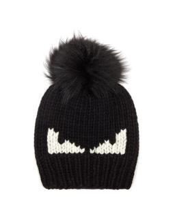 Fendi Men's Black Bag Bugs Fur-pompom Wool Hat