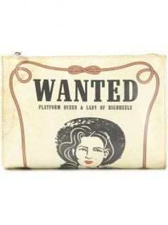 Women's Charlotte Olympia Natural Poster Print Leather Clutch