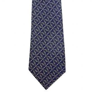 Hermes Classic Navy Blue Silk Tie