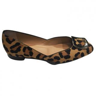 Russell & Bromley Leopard print Hair calf ballet pumps
