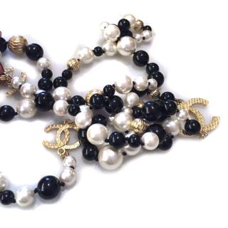 Chanel Black and White Pearl Necklace