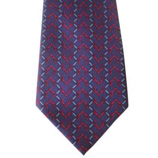 Hermes Blue and Red Snaffle Bit Motif  UASilk Tie