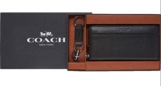 COACH Accordian Men's Leather Wallet & Keyring Set