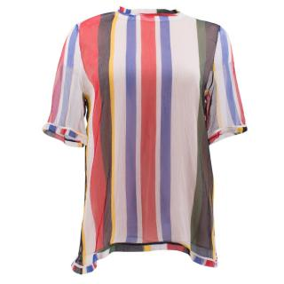 Marni Colourful Striped Sheer Top with Pink Vest