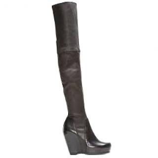 Rick Owens Black Stretch Leather Over the Knee Boots