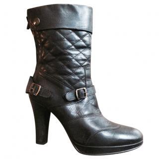 Belstaff Black Qulited Leather Heeled Biked Boots
