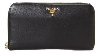 Prada Powder Blue Saffiano Leather Zip Around Wallet