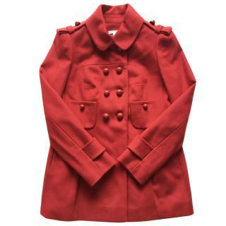 Paule Ka Dark Red Wool Peacoat