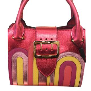 Burberry Small Buckle Tote in Metallic Pink Leather,Snakeskin Applique