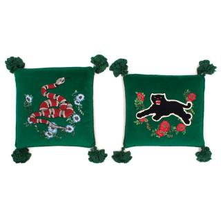 Gucci Set of 2 Embroidered Velvet Cushions