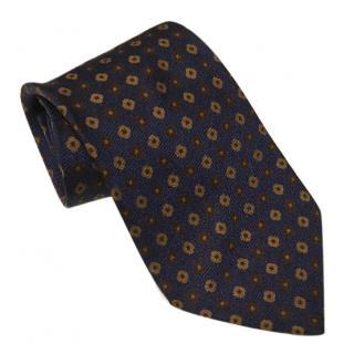 Ermenegildo Zegna Autumnal Navy Blue & Brown Tie