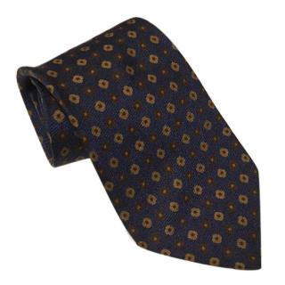 Ermenegildo Zegna Autumnal Navy Blue & Brown Tie