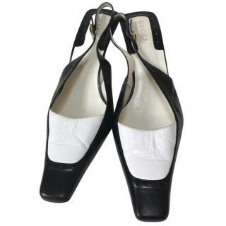 Gucci Mono Leather Sling Back Stiletto