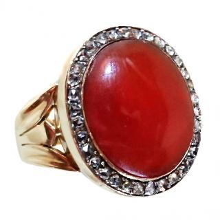 Georgian Carnelian & Rose Diamond Ring Gold setting
