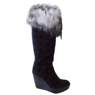 DIOR Suede Fox Fur Wedge Tall Boots
