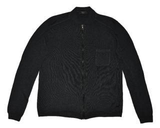 Prada Men's Gray Wool Silk Elbow Patch Leather Sweater