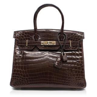 Hermes Brown 30 Niloticus Crocodile Birkin Bag
