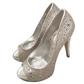 Gina Light Grey Satin Crystal Heels