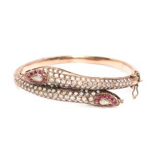 Bespoke Snake 28k Rose gold and Diamond Bracelet