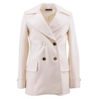 The Row Cream Double-Breasted Peacoat