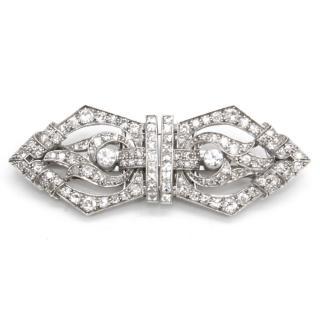 A&W Diamond Art Deco Brooch