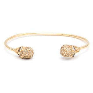 Bespoke 18K Gold and Diamond Skull Bracelet