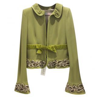 Ungaro Pistachio Velvet Trimmed Jacket