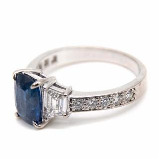 Bespoke Sapphire and Diamond Fine White Gold Ring