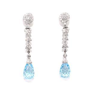 V.HOLMSTRUP Aquamarine and Diamonds Pendant Earrings