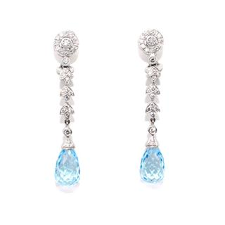 V.HOLMSTRUP Blue  Briolette Topaz and Diamond Ear Pendants