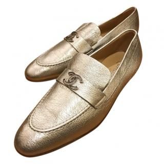 Chanel Silver Loafers