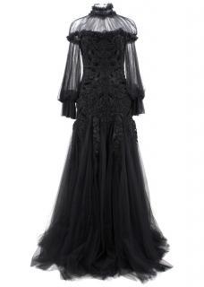 Alexander Mcqueen Black Beaded Tulle Gown