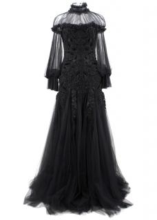 Alexander Mcqueen Black Beaded Tulle Gown