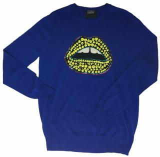Markus Lupfer Blue Sequined Lips Jumper