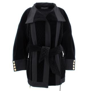 Balmain Black Quilted Velvet Coat