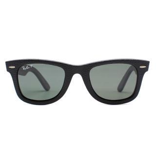 Ray Ban Black Leather Wayfarer Sunglasses