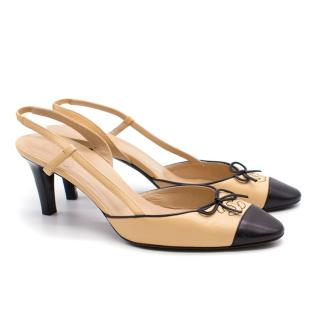 Chanel Nude and Black Slingback Pumps