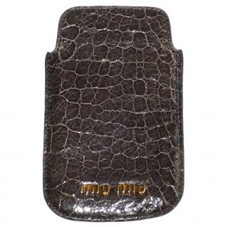 MIU MIU Grey Crocodile print Leather Phone Case