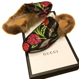 Gucci fur lined Princeton jacquard Aw17