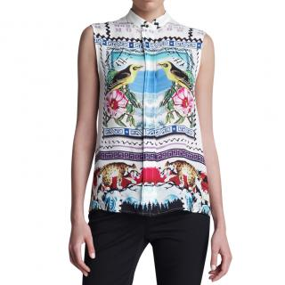 Mary Katranzou Aria Sleeveless Printed Blouse
