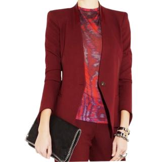Helmut Lang burgundy blazer with leather collar
