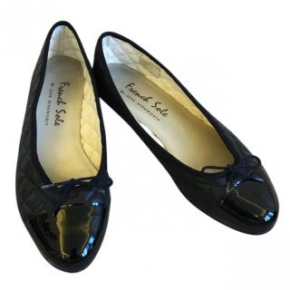 French Sole black leather ballet pumps