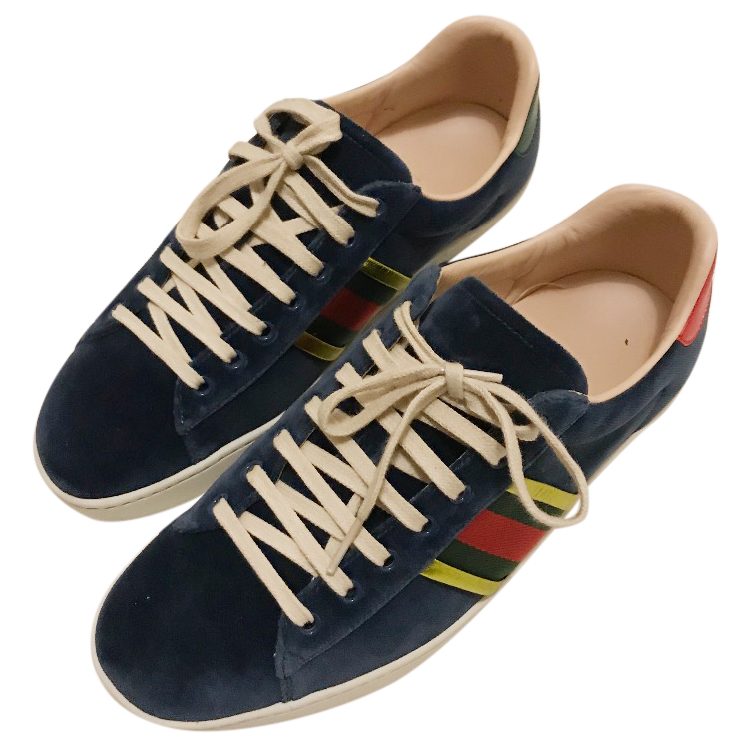 9d66b607eab8 Gucci Blue Velvet Ace Trainers