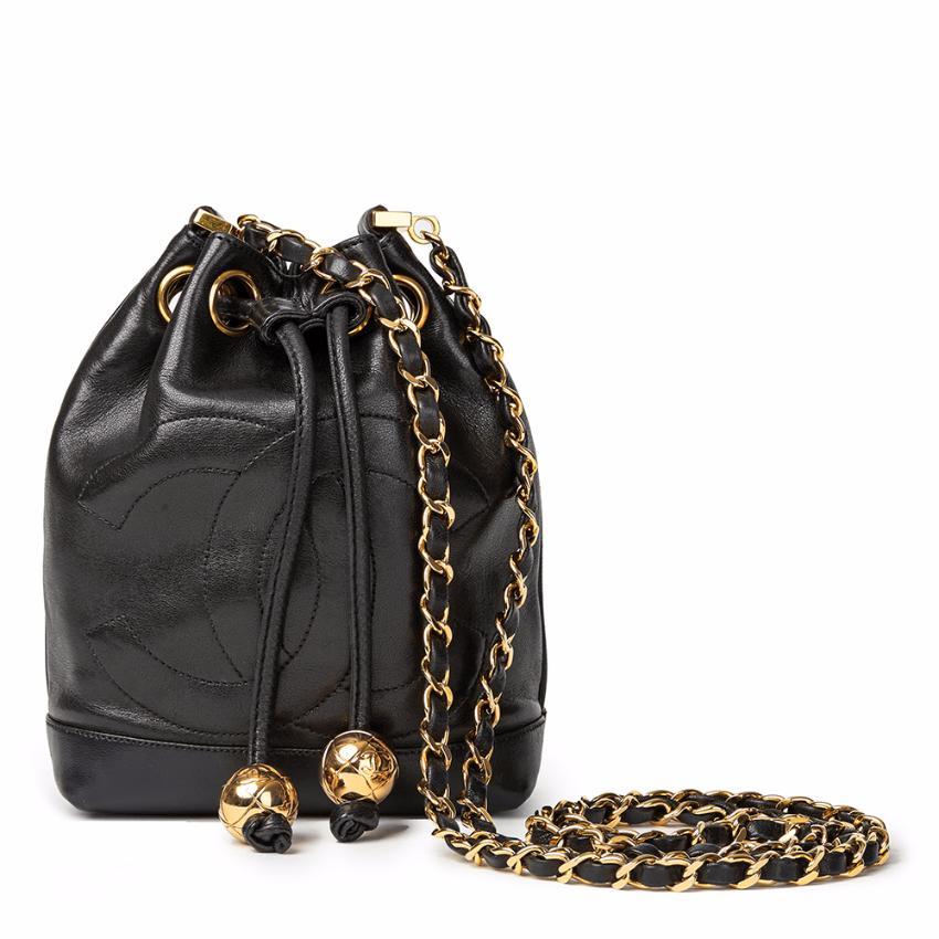 Chanel Black Lambskin Vintage Mini Bucket Bag  666679b9b03f4