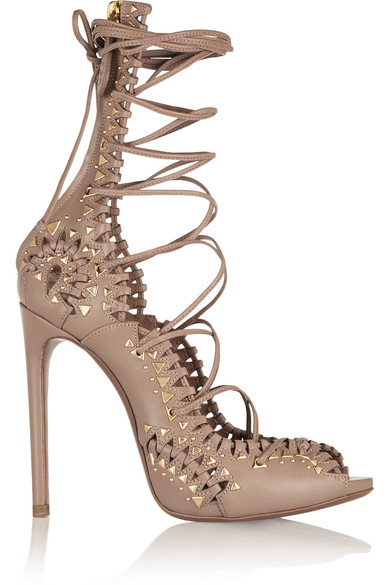 Alaia studded lace-up leather sandals