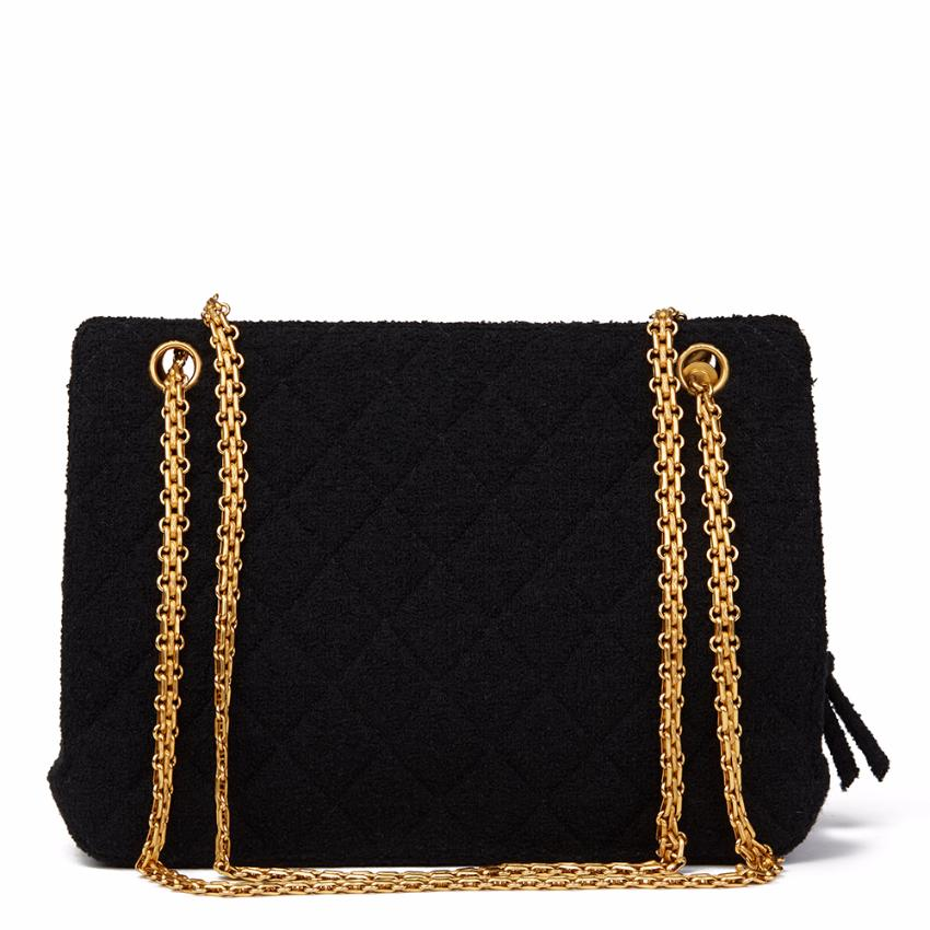 009c1560aa21 Chanel Black Quilted Tweed Fabric Vintage Frame Bag