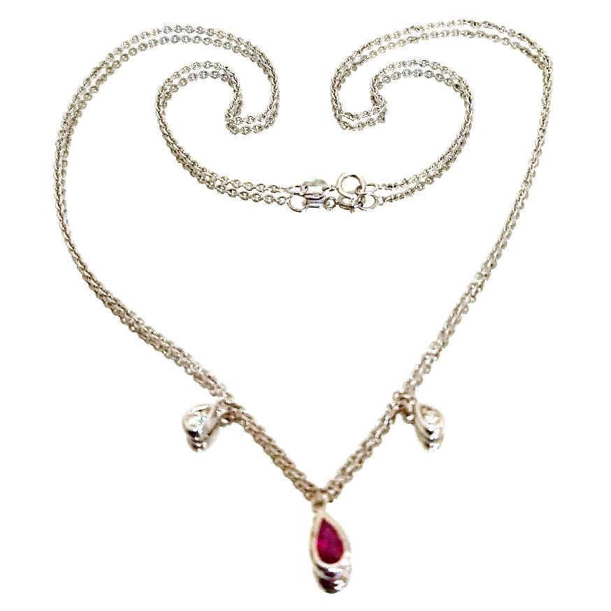 Diamond & Ruby Necklace white gold