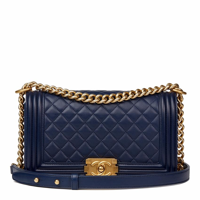 1a49d118fb0844 Chanel Navy Quilted Lambskin Medium Le Boy | HEWI London