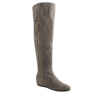 STUART WEITZMAN Camel suede over the knee flat boots