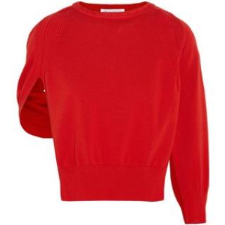 J.W Anderson Red Ribbed Open-sleeve cape Cotton Sweater knitwear top sz s